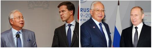 Left: Malaysian Prime Minister Najib Razak with Rutte, The Hague, July 31, 2014; right: Najib with Putin, Sochi, May 21, 2016