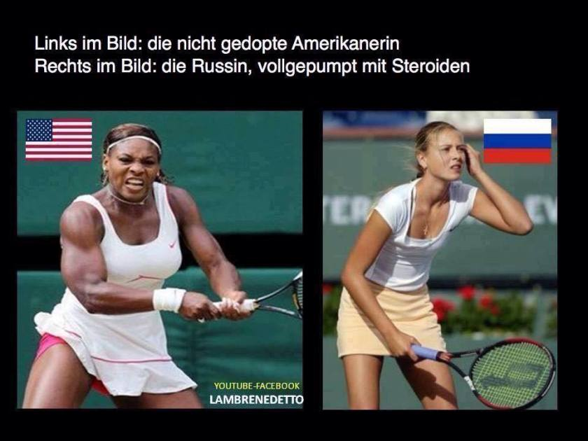 Left: American athlete, on no PEDs. Right: Russian athlete, pumped full of steroids.