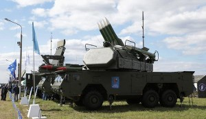 A photograph of a Russian BUK missile system that U.S. Ambassador to Ukraine Geoffrey Pyatt published on Twitter in support of a claim about Russia placing BUK missiles in eastern Ukraine, except that the image appears to be an AP photo taken at an air show near Moscow two years earlier