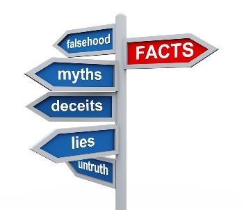 3d roadsign of facts vs lies wordcloud