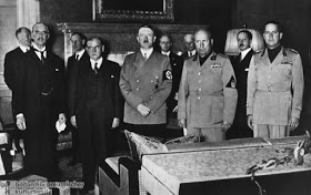 The participants of Munich Conference, 1938. From left to right: Neville Chamberlain, Eduard Daladier, Adolf Hitler, Benito Mussolini.