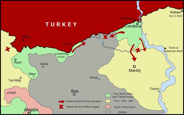 Map of the Turkish-led offensive in the northern Aleppo Governorate, showing the ongoing developments in west of Euphrates River. Source Wikipedia