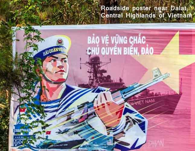 Roadside poster near Dalat, central highlands of Vietnam