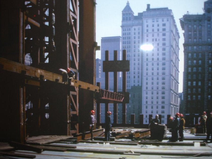 part of the  steel core on one of the twin towers under construction