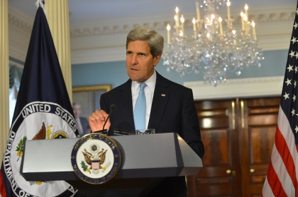 U.S. Secretary of State John Kerry on Aug. 30, 2013, claims to have proof that the Syrian government was responsible for a chemical weapons attack on Aug. 21, 2013, but that evidence failed to materialize or was later discredited. [State Department photo]