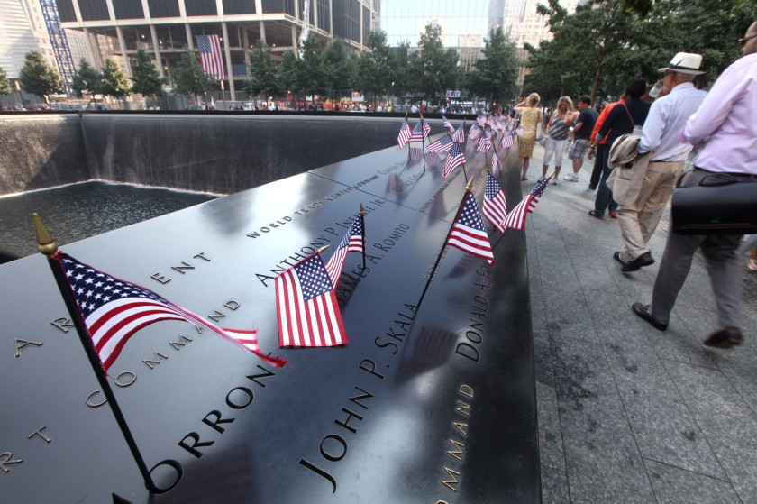 flags  at the 9/11 Memorial during ceremonies marking the 12th anniversary of the attacks - UPI/Chris Pedota /POOL