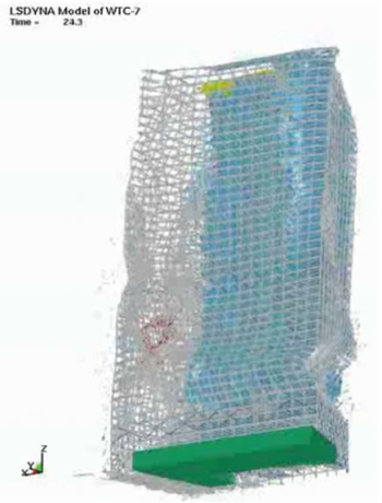 IG. 3: The final frame of NIST's WTC 7 computer model shows large deformations to the exterior not observed in the videos (Source: NIST)