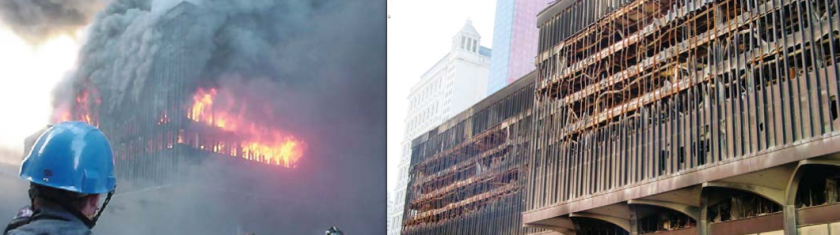 .FIG.1:WTC5 is an example of how steel-framed high-rises typically perform in large fires. It burned for over eight hours on September 11, 2001, and did not suffer a total collapse (Source: FEmA)