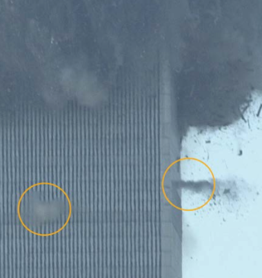 "FIG. 5: High-velocity bursts of debris, or ""squibs,"" were ejected from point-like sources in WTC 1 and WTC 2, as many as 20 to 30 stories below the collapse front (Source: Noah K. murray)."