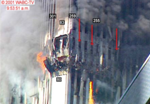 FIG. 6: molten metal was seen pouring out of WTC 2 continuously for the seven minutes leading up to its collapse (Sources: WABC-Tv, NIST).