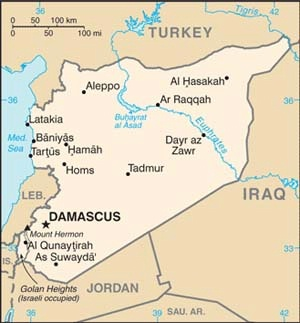 Map of Syria, showing Golan Heights in the lower left corner.