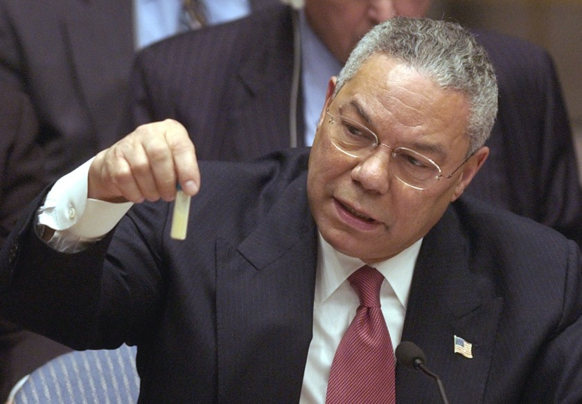 FILE - U.S. Secertary of State Colin Powel holds up a vial that he said could contain anthrax during a meeting of the United Nations Security Council at the United Nations headquarters on Wednesday, Feb. 5, 2003. (AP Photo/Elise Amendola, File)
