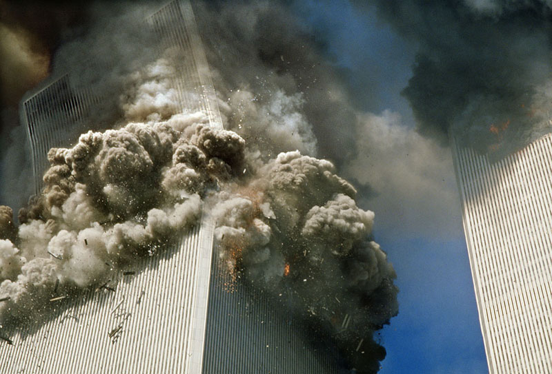 the  South Tower at the moment of collapse