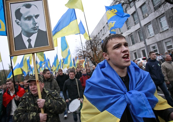 The 2014 Euromaidan protesters in Kiev with the picture of Stepan Bandera – a  leader of the WWII Nazi-Fascist movement in Ukraine