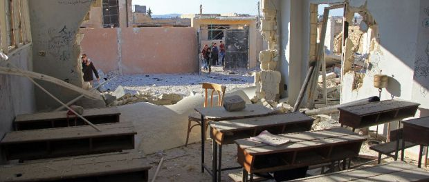 Photos of the school in Idlib allegedly destroyed by an airstrikePhotos of the school in Idlib allegedly destroyed by an airstrike