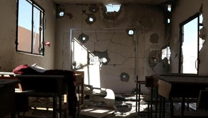 A damaged classroom is pictured after shelling in the rebel held town of Hass, south of Idlib province, Syria October 26, 2016. REUTERS/Ammar Abdullah
