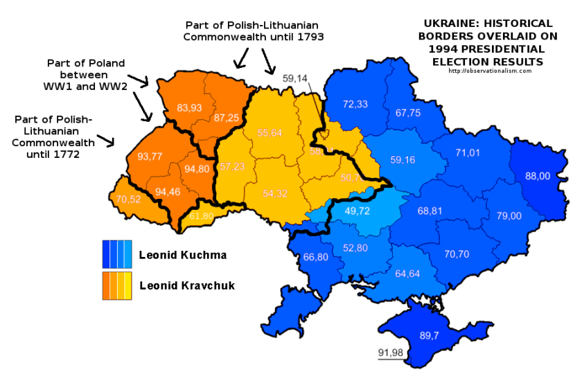 The 1994 Presidential election results in Ukraine according to historical regions