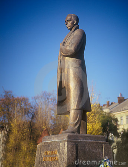statue of Stepan Bandera in Lviv