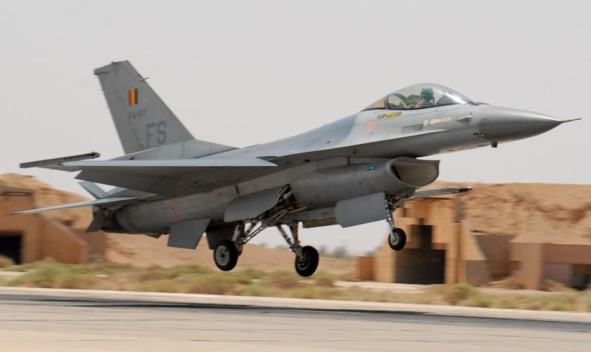 A Belgium Air Force F-16 lands on May 22, 2007 during the scramble competition at the 2007 Falcon Air Meet (FAM).  Aircrews are judged by the ability to generate two sorties in the quickest and safest way possible reflecting a war time mission.  The FAM is an annual training opportunity hosted in Jordan for pilots from each country to fly and operate together. Participating in the 2007 FAM are air forces from Jordan, Turkey, Belgium, and the United States, specifically Shaw AFB.  (Photo by Technical Sergeant Wolfram M. Stumpf)