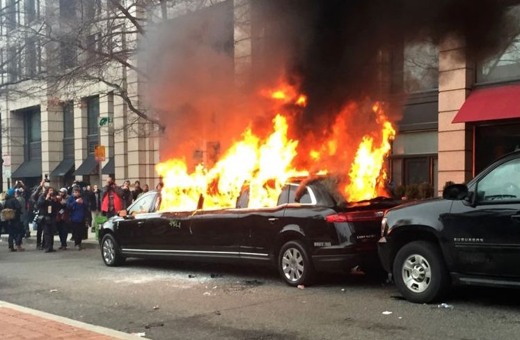 limo allegedly set on fire by anti-Trump protesters  on Inauguration Day in DC