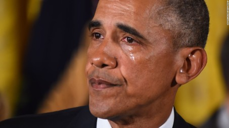 Obama's farewell speech tear, one more than he ever shed for Libya, Syria or Yemen.