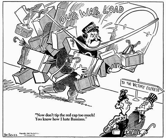 American attitude to Soviet war effort cartoon